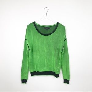Rag & Bone | Neon Green and Black Ribbed Sweater S